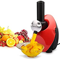 Homemade Frozen Fruit Yogurt Dessert Maker, Ice Cream Machine, Sweet Treat Smoothie Sorbet Maker Blender, Red