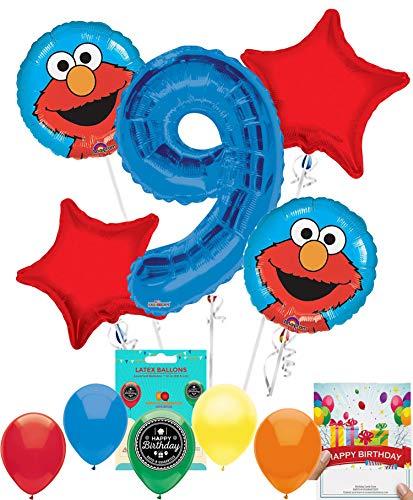 Elmo Party Supplies Sesame Street Balloon Decoration Bundle with Birthday Card for 9th Birthday -