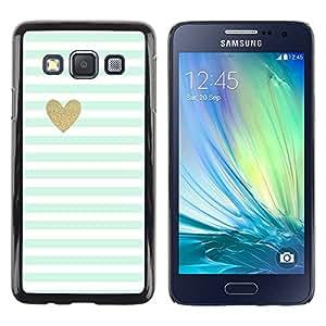 Paccase / SLIM PC / Aliminium Casa Carcasa Funda Case Cover para - Sheet Heart Minimalist Clean Stripes - Samsung Galaxy A3 SM-A300