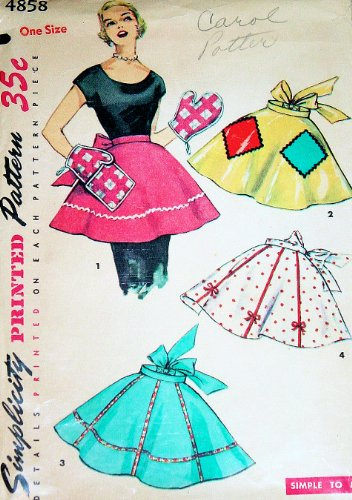 Simplicity 4858 Misses' One Yard Hostess Apron Sewing Pattern, One Size, Vintage 1940s Simple to Make (Rack Vintage Rick)