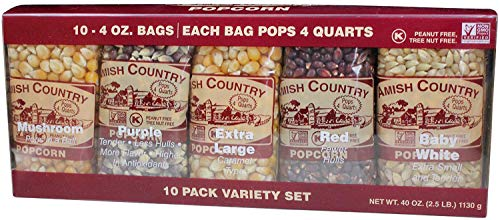 Amish Country Popcorn - 4 Ounce Variety Gift Set (10 Pack Assorted)- Old Fashioned, Non GMO, Gluten Free, Microwaveable, Stovetop and Air Popper Friendly with Recipe Guide