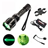 X.YShine Hunting Flashlight, HS-802 250 Yards 350 Lumens Cree Q5 Coyote Hog LED Flashlight with Remote Tactical Pressure Switch+ Barrel Mount+ 18650 Rechargeable Battery+ Charger for Hunting, Fishing