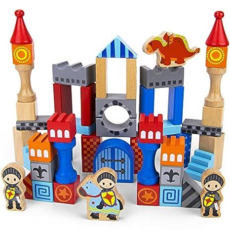 Imagination Generation Heroic Knights Wooden Castle Building Blocks 50 Piece Medieval Play Toy Set In Storage Drum