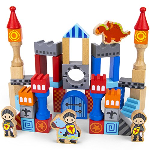 - Imagination Generation Heroic Knights Wooden Castle Building Blocks, 50-Piece Medieval Play Toy Set in Storage Drum