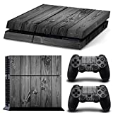 Golden Vivid Color GrayWood Decal Skin for PlayStation 4 PS4 Console + 2 PS4 Stickers for Controllers