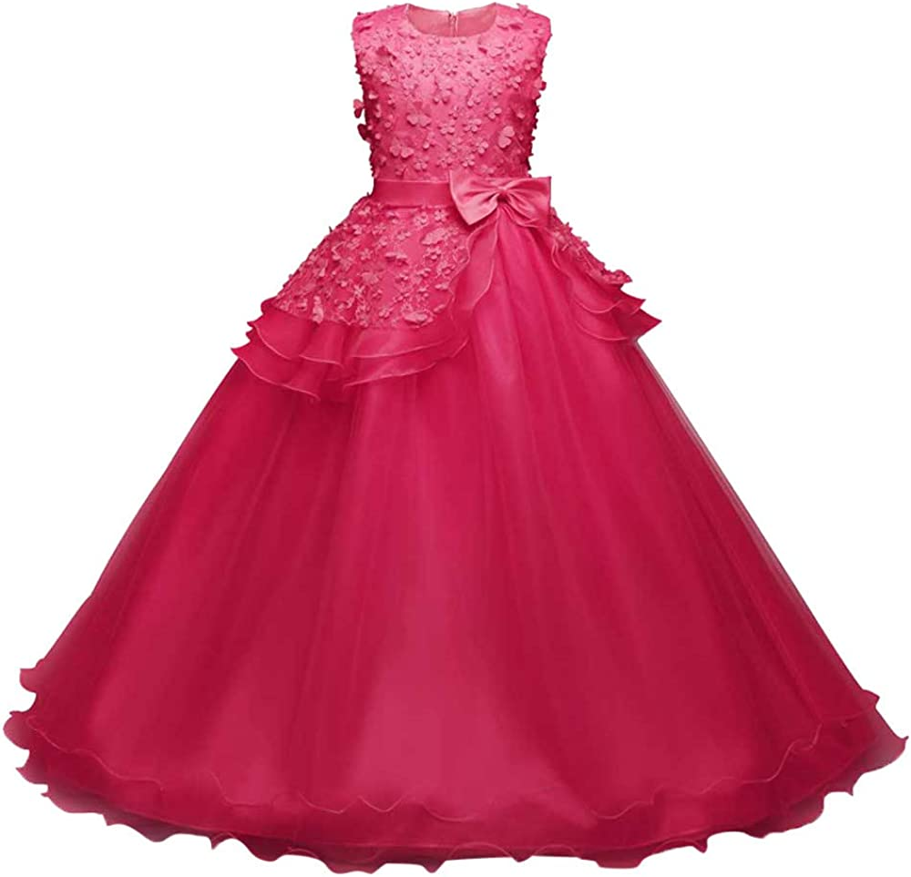 Lurryly❤Girl Sleeveless Embroidery Princess Pageant Dresses Kids Prom Ball Party Wedding Dresses 3-9 T