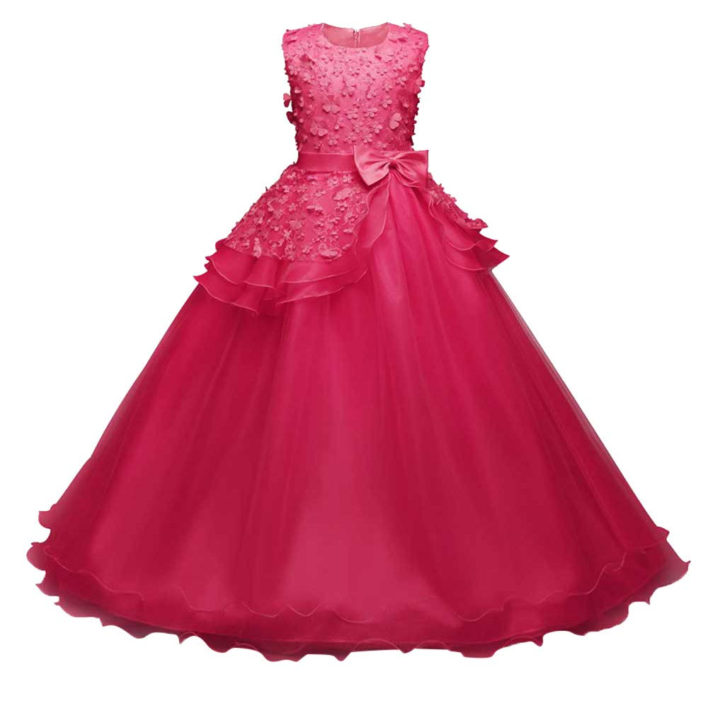 Girl Embroidery Princess Pageant Dresses Kids Prom Ball Gown Bridesmaid Pageant Gown Birthday Party Wedding Dress Hot Pink by Wenini