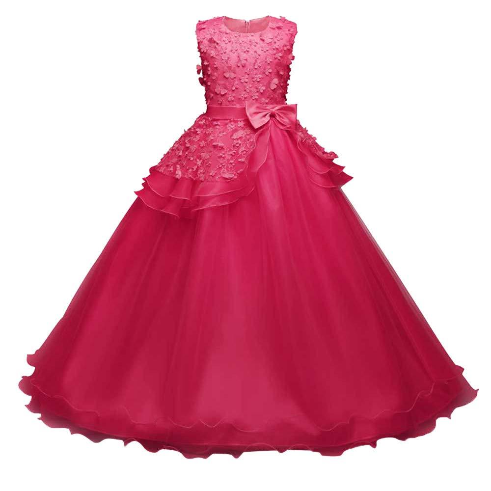 ❤️Filles dhonneur mari/ée Robes PANPANY B/éb/é Floral Princesse Demoiselle Robe de dhonneur Robe de mari/ée de f/ête danniversaire Jupe De Fille Rose Fleur Princesse Tutu Robes pour 4-9Ans