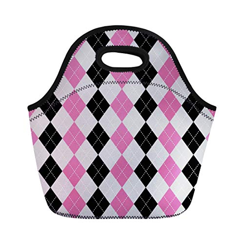 - Semtomn Lunch Tote Bag Diamond Argyle Pattern Check Harlequin Plaid Checkered Jumper Material Reusable Neoprene Insulated Thermal Outdoor Picnic Lunchbox for Men Women