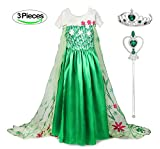 Kuzhi Princess Anna Cosplay Costume with Crown and Wand - Green