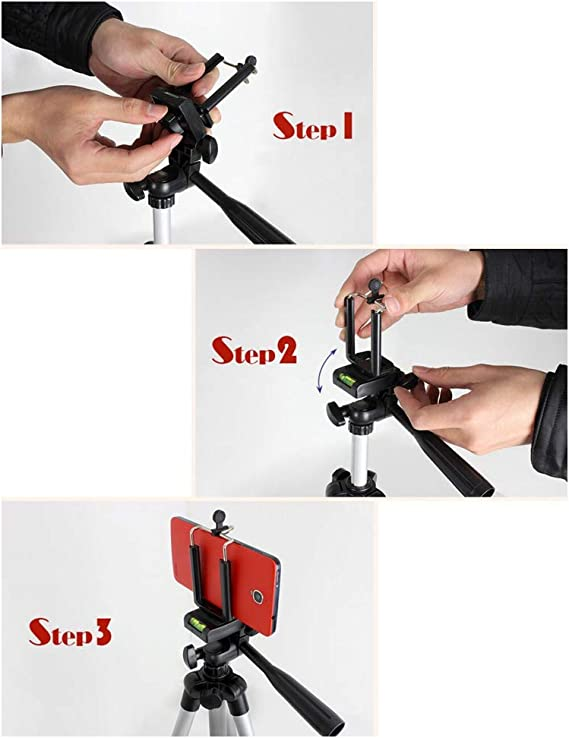Mugast Camera Tripod,Portable 360/° Horizontal Rotation and 90/° Vertical Turn Travel Tripod Stand Mount with Cell Phone Holder for Photography Shooting