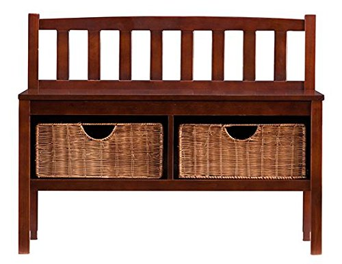 Lakewood Bench With Storage Baskets, 28.5''Hx36''W, ESPRESSO by Home Decorators Collection