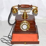 royalantique Vintage Style Brass and Wood Retro Table Drawer Telephone DIAL Ancient Primitive