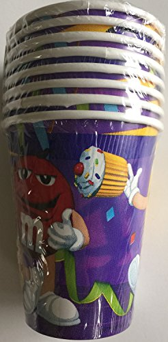 M & M Party 9oz Cups - 8 Paper Cups
