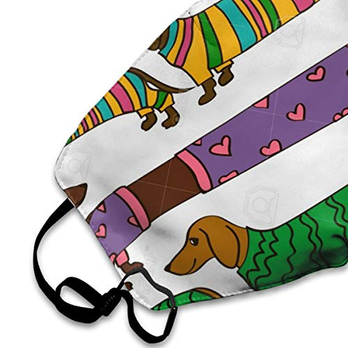 NOT Funny Cartoon Long Dachshund Dogs PM2.5 Mask, Adjustable Warm Face Mask Unique Cover Filters Blocking Pollen Pollution Germs,Can Be Washed Reusable Pollen Masks Cotton Mouth Mask for Men Women