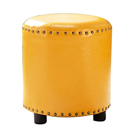 Pleasing Uusshop Wood Handcrafted Seating Footstool Footrest Ottoman Pouffe Round Makeup Coffee Table Chair Foot Stool With Faux Oil Wax Leather Cover Yellow Andrewgaddart Wooden Chair Designs For Living Room Andrewgaddartcom