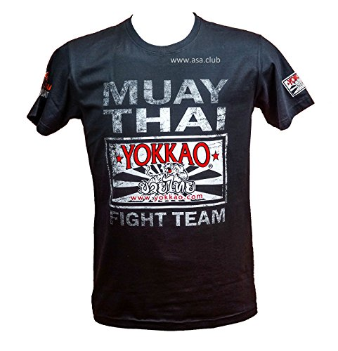 Fight Team T-shirt (YOKKAO FIGHT TEAM BLACK MUAY THAI T-SHIRT Size XL)