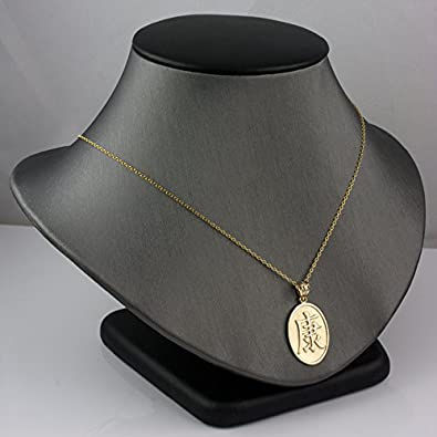14K Yellow Gold Chinese Health Symbol Necklace