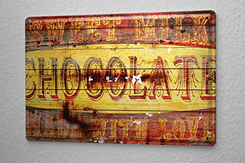 Deco Chocolate - M.A. Allen Retro Tin Sign U.S. Deco Sweet Milk Chocolate Milk Schockoladen advertising 20x30 cm Large Metal Wall Decoration Vintage Retro Classic Plaque