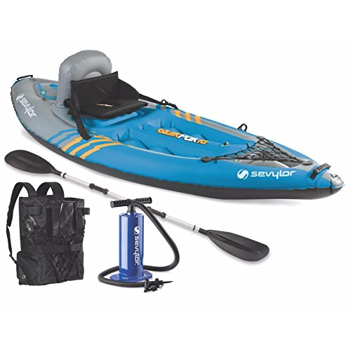 (Sevylor K1 QuikPak 21 Gauge PVC Inflatable Coverless Sit-On-Top 1 Person Kayak)