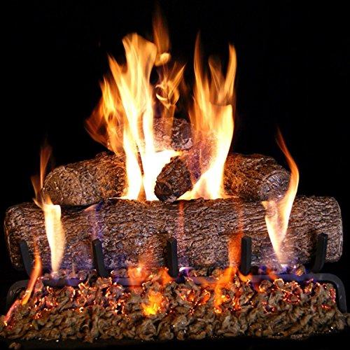 Vented Gas Log Burner - Peterson Real Fyre 24-inch Live-Oak Log Set With Vented Burner, Match Lit (Natural Gas Only)