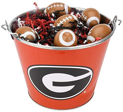 (University of Georgia Bulldogs NCAA Easter Basket Incl. Fillable Sports Eggs and Colored Grass Football Basketball Baseball Soccer Easter Gift Ideas (Football))