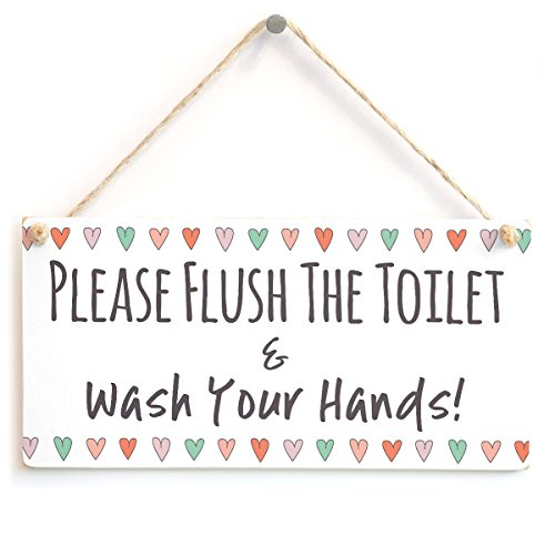 Meijiafei Please Flush The Toilet & Wash Your Hands - Cute Bathroom W.C Toilet Sign Coloured Hearts Border 10