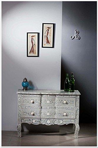 ACE CRAFTIQUE Wooden Handmade Bone Inlay Dark Grey Sideboard Chest of Drawer For Home - Storage Dressers