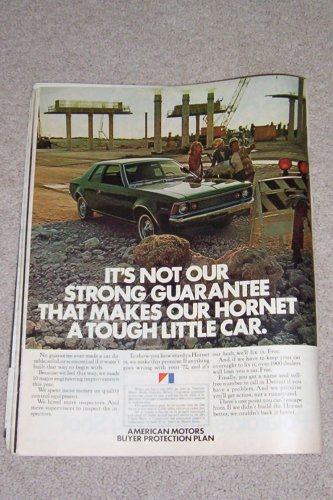 Vintage Ad 1972 American Motors Hornet from May 5, 1972 LIFE Magazine -- 10 x 13 Suitable for Framing!!!