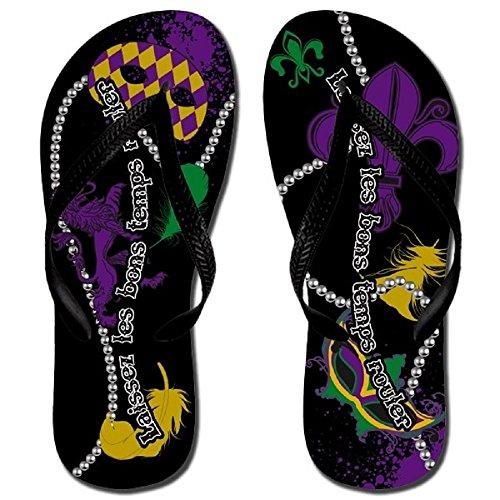 [Katydid Mardi Gras Flip Flops Sandals Shoe Purple Fleur De Lis Mask Beads Feathers Jp] (Mardu Gras Mask)
