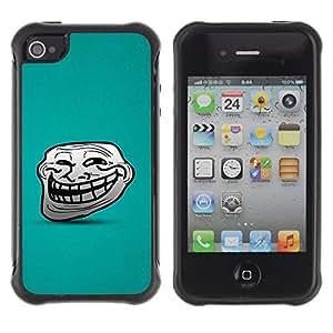 Paccase / Suave TPU GEL Caso Carcasa de Protección Funda para - Big Smile Cartoon Face Comic Character Teeth - Apple Iphone 4 / 4S