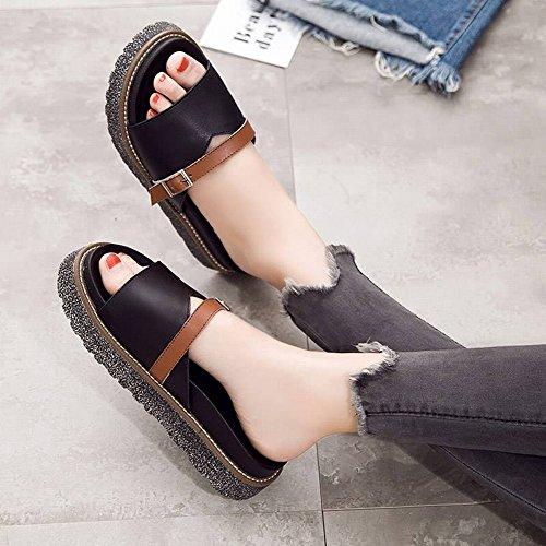 de Hebilla Mujer Sandalias Mujer Hebilla Zapatillas Casual con de Zapatillas Moda de Pendiente de 36 Caqui Gruesa de Tacón Alto 0wqTXT8zC5
