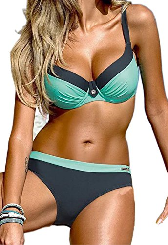 Bikini blue Push Damen Up CROSS1946 Swimsuits Zweiteiler Elegant Gruen Badeanzug Bademode Set F8PwA1q