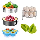 Pressure Cooker Accessories Set with Springform Pan, Vegetable Steamer Basket, Egg Rack, Egg Bites Mold, Silicone Cooking Mitts Compatible with Instant Pot 6/8 Qt (7 PCS)
