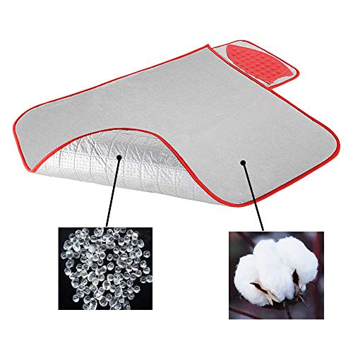 Ironing Mat with Silicone Iron Rest, Upgraded Portable Anti-Slip Ironing Blanket Thick Cotton Padded Heat Resistant Ironing Pad for Washer,Dryer,Table Top,Countertop,Ironing Anywhere