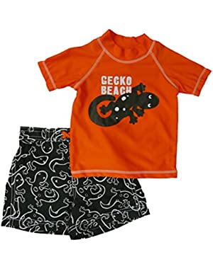 Carters Infant Boys Gecko Beach Orange Rash Guard & Black Swim Trunks Set 24m!
