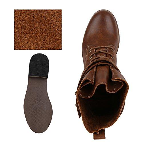 Damen Schnürstiefeletten Stiefeletten Übergrößen Denim Schuhe Prints Leder-Optik Schuhe Spitze Modische Boots Zipper Jennika Braun Schnalle