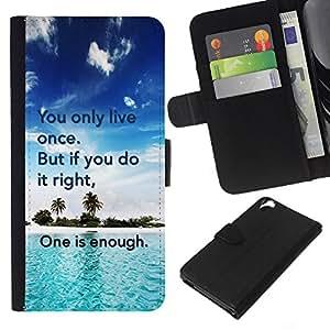 KLONGSHOP // Tirón de la caja Cartera de cuero con ranuras para tarjetas - Only Live Once hacerlo Cita derecho Suficiente - HTC Desire 820 //