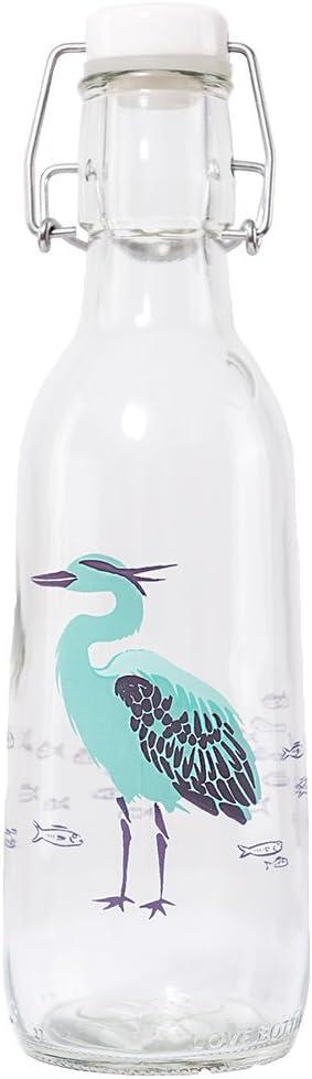 Love Bottle USA Manufactured Glass Water Bottle, BPA Free, 500ml, Heron