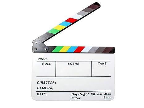 Andoer® Claqueta Plástica acrílica de Cine Seco y Borrado Director film clapboard (9.85x 11,8 pulgadas) con los palillos del color Directora de ...