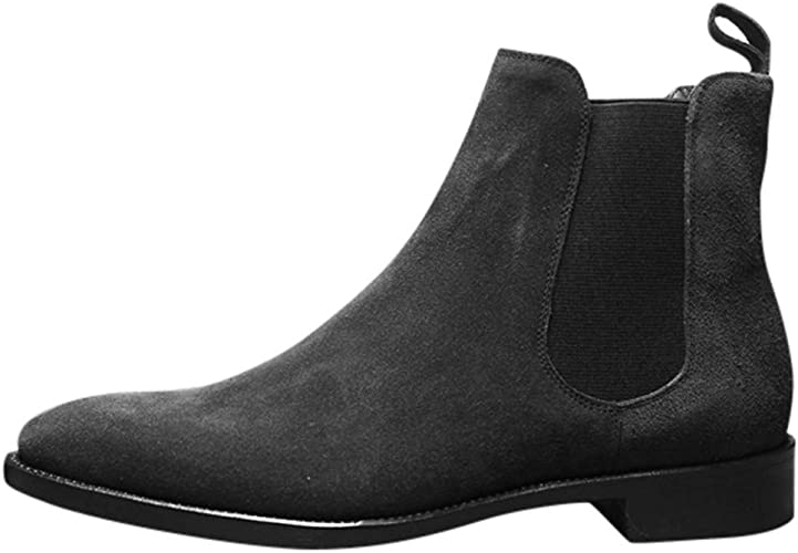 Casual Elastic Ankle Boots Ohbiger Mens Suede Chelsea Chukka Boots Lace Up Leather Dress Boots