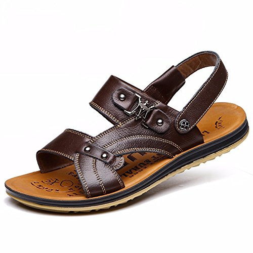 Sommer die neue Männer sehnen Bottom Beach Schuh Sandalen Haut Sandalen Sandalen Schuh Cover Foot First Layer Fell Leder, Braun, US = 9.5, UK = 9, EU = 43 1/3, CN = 45