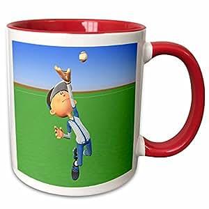 3dRose Boehm Graphics Cartoon - Cartoon Baseball Player with Blue White Jumps - 11oz Two-Tone Red Mug (mug_164063_5)