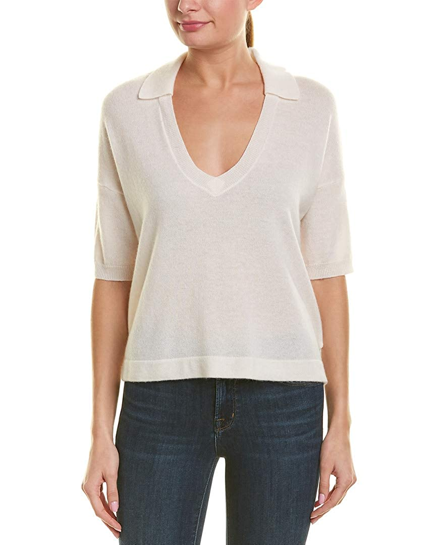 James Perse Womens 3//4-Sleeve Cashmere Polo Shirt White