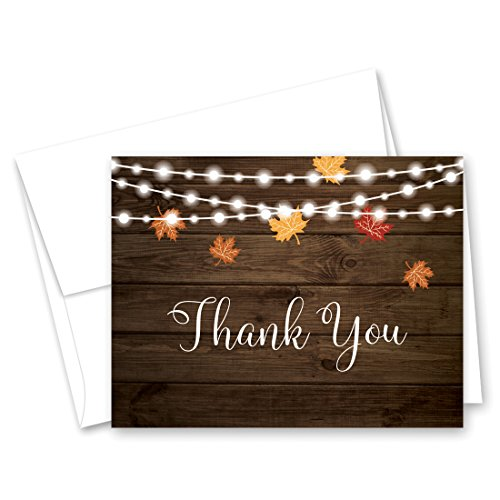 50 cnt Autumn Leaves on Rustic Wood Thank You Cards and Envelopes
