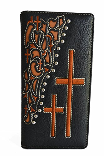 Studded Checkbook Wallet - mens brown black sttched cowboy praying cross leather bifold tall wallet (Black)