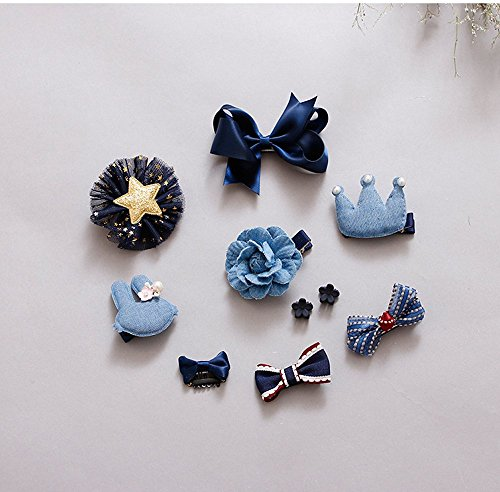 10pcs Princess Hair Clips Cute Bowknot Crown Hair Barrette Hairpin Headdress Bows Accessories for Photography Pops Costume Party Baby Girls Kids Toddler Birthday Gift (Navy Blue) - Navy Angel Costume