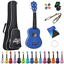 Amdini 21 inch Soprano Ukulele Basswood Acoustic Mini Guitar for Beginner Kid Starter with Case Strap Tuner Picks…