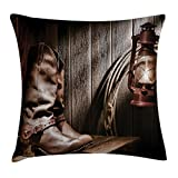 Ambesonne Western Throw Pillow Cushion Cover, Dallas Cowboys and Lantern on a Bench in Vintage Ranch Nostalgic Folkloric Photograph, Decorative Square Accent Pillow Case, 18' X 18', Reddish Brown