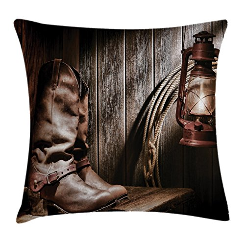 Western Decor Throw Pillow Cushion Cover by Ambesonne, Dallas Cowboys and Lantern on a Bench in Vintage Ranch Nostalgic Folkloric Print, Decorative Square Accent Pillow Case, 18 X18 Inches, Brown